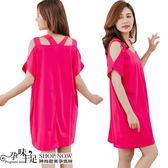 現 造型美背性感露肩孕婦洋裝 桃【COQ733】孕味十足。孕婦裝
