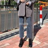 牛仔褲女寬鬆春夏新款百搭高腰修身彈力顯瘦顯高九分韓版直筒褲潮 快速出貨