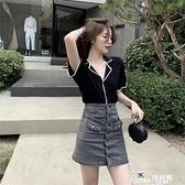 V領襯衫-洋氣薄款冰絲針織T恤上衣2021夏季新品韓版顯瘦撞色短袖V領襯衫女
