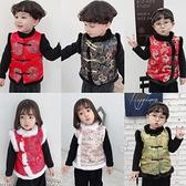 男童加厚錦緞棉背心冬季女童加絨仿兔毛唐裝馬甲中國風兒童新年服 小艾新品