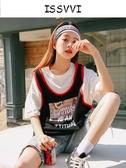 假兩件寬鬆短袖T恤女2019夏季新款嘻哈籃球印花原宿bf風百搭上衣