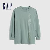 Gap女裝 Logo超寬鬆碳素軟磨T恤 753684-綠色