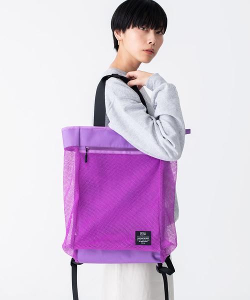 日本 KiU 112-908 白色 側背後背2用大容量托特包: 一包變兩包, 內袋可抽出變防水購物袋
