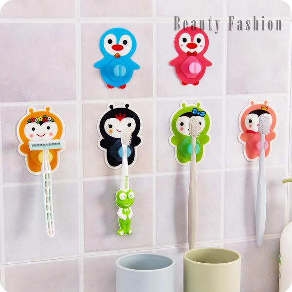 韓版創意可愛強力粘膠牙刷架 吸壁式卡通動物情侶(隨機出貨)