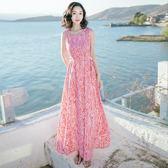 全館免運八折促銷-2018夏季新品女裝修身無袖雪紡長裙連衣裙波西米亞海邊度假沙灘裙
