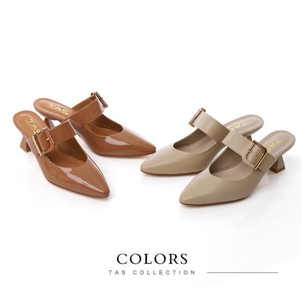 TAS大方金屬飾釦涼拖鞋-焦糖棕