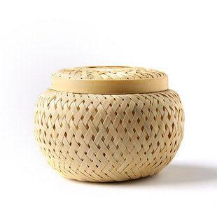 手工竹編雙層小茶簍