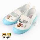 日本月星 MoonStar 白 / 淺藍 冰雪奇緣 舒適學生鞋 帆布膠底室內鞋 NO.R0939