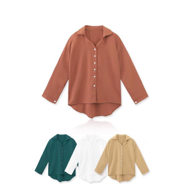 MIUSTAR 韓版簡約排釦落肩前短後長襯衫(共4色)【NF3782LS】預購