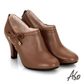 A.S.O 輕透美型 真皮鉚釘側蝴蝶結飾奈米高跟鞋 茶色