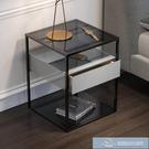床頭櫃 北歐床頭柜實木抽屜鋼化玻璃輕奢簡約臥室 微愛家居生活館