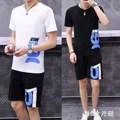 夏季短袖短褲運動套裝男生青少年初高中學生t恤兩件套裝男運動服 QQ21745『MG大尺碼』
