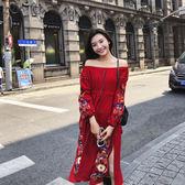 VK精品服飾 韓國風顯瘦開叉復古民族風刺繡一字領長袖洋裝