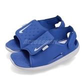 Nike 涼鞋 Sunray Adjust 5 TD 藍 灰 小朋友 小童鞋 童鞋 涼拖鞋【PUMP306】 AJ9077-400
