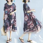 中大尺碼 沙灘裙夏季雪紡短袖大花連身裙波西米亞長裙 nm1519 【VIKI菈菈】