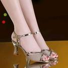 魚口鞋 網紅2021新款涼鞋女夏高跟鞋一字扣時尚百搭魚嘴鞋粗跟夏季女鞋子 韓國時尚週 免運