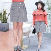★韓美姬★中大尺碼~小格子不對稱半身裙(XL~4XL)