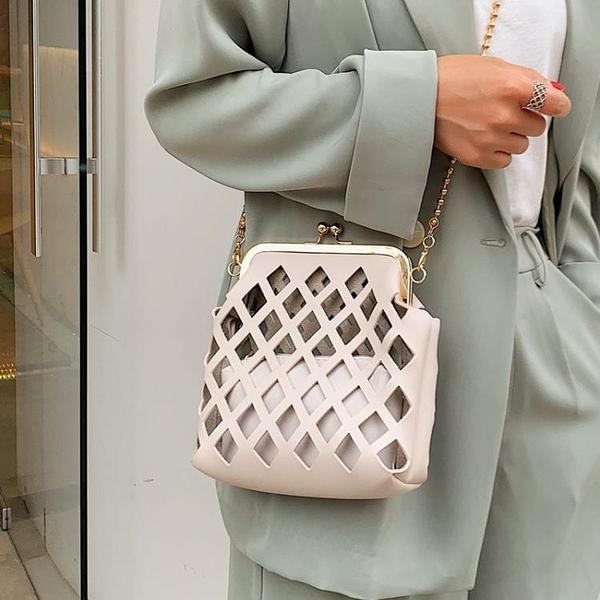 編織包 2020小包包時尚斜跨包個性洋氣鏤空洋氣菱格鍊條斜跨單肩貝殼包女