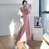 針織毛衣連身裙女秋冬2021新款Polo領長款過膝毛衣裙寬鬆開衫外套 貝芙莉