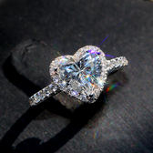 戒指 S925純銀愛心鉆戒八心八箭帶鉆戒指心形克拉結婚飾品 巴黎春天