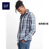Gap男裝 舒適純棉粗斜紋布西部風襯衫 125983-經典襯衫藍