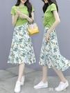 小個子套裝2020年夏季新款女洋氣t恤碎花雪紡半身連身裙子兩件套 FX7157 【MG大尺碼】