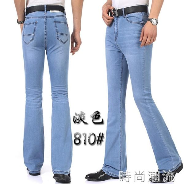 男士春夏款微喇牛仔褲彈力修身中腰喇叭褲小喇叭夏季喇叭褲