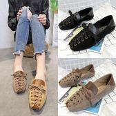 豆豆鞋 休閒鞋 一腳蹬女方頭淺口平底單鞋 糖果時尚
