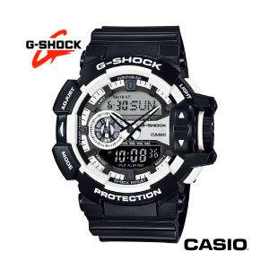 CASIO G-SHOCK 黑框白邊雙顯黑色膠帶電子錶 GA-400-1A 防水防撞 公司貨 名人鐘錶