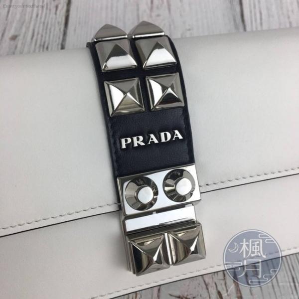BRAND楓月 PRADA 普拉達 1DH061 白色皮革 鉚釘 WOC 斜背 小包 鍊包