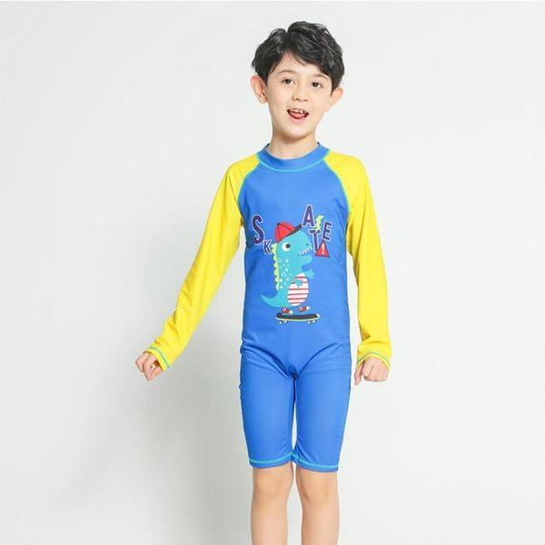 男童泳裝 泳衣卡通恐龍男童長袖連身拉鏈沙灘-小精靈生活館