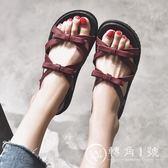 港味復古chic涼鞋女2018新款夏學生平底簡約韓版原宿風百搭羅馬鞋