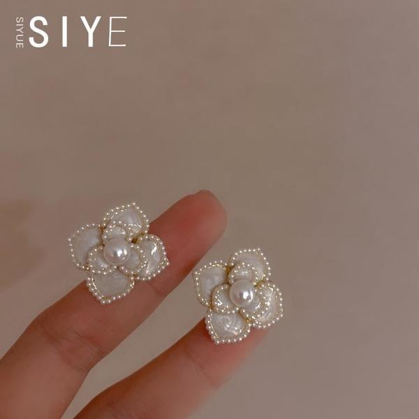 法式復古高級感山茶花耳釘 s925銀針珍珠優雅花朵耳環女