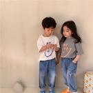 男童T恤 棉麻笑臉T恤姐弟裝2021春夏新款童裝兒童寶寶寬松短袖【牛年大吉】