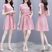 低價!低價!S-2XL 時尚連身裙女2020氣質收腰寬松小個子顯瘦系帶中長款裙子2671 1F025 依品國際