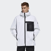 ISNEAKERS ADIDAS O1 WB TRAVEL 風衣外套 白色 寬版 毛絨內裡 可拆式拉鍊口袋 男款 FM9394
