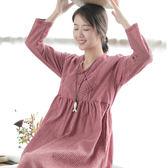 棉麻連身裙 寬鬆 盤扣 格子洋裝 長袖連身裙/2色-夢想家-0814