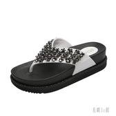 拖鞋女外穿時尚百搭人字拖2020新款海邊沙灘鞋網紅厚底串珠涼拖鞋 HX6930【易購3C館】