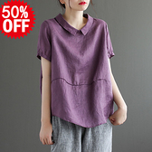 亞麻套頭T恤女 娃娃領拼接亞麻衫