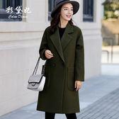 毛呢外套  新款韓版大碼寬松呢子大衣時尚純色百搭毛呢外套