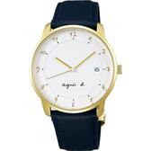agnes b. 法國時尚簡約手錶-白x金框x黑/38mm VJ42-KZ30B(BS9005J1)