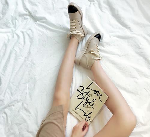 歐美真皮拚接圓頭馬丁靴 名媛風復古綁帶低跟厚底短靴 mo.oh (歐美鞋款)