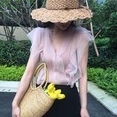 2018早春新款韓風chic復古氣質網紗拼接顯瘦V領針織衫女上衣背心 小巨蛋之家