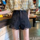 牛仔短褲 女黑色超短褲女2021年新款夏季薄款高腰直筒寬鬆破洞牛仔褲潮ins suger 新品