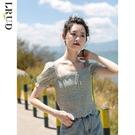 小雛菊雪紡衫女2020夏季新款韓版短袖上衣修身短款方領襯衫潮