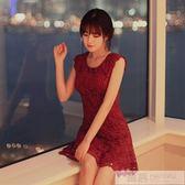 洋裝 2019夏裝新款女韓版顯瘦無袖背心鏤空蕾絲連身裙花邊A字禮服短裙  韓慕精品