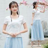 短袖繡花復古民族風上衣 蕾絲邊袖口圓領百搭
