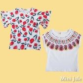 Mini Jule 女童 上衣 滿版花朵荷葉邊/彩色花朵圖騰印花短袖T恤(共2款) Azio Kids 美國派 童裝