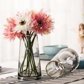 輕奢·描金 北歐T型簡約玻璃花瓶 客廳花器家居裝飾插花花瓶擺設 滿天星