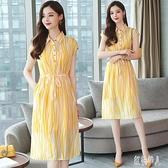 雪紡連身裙女夏季2020年中長新款韓版高腰短袖氣質條紋襯衫洋裝潮 yu12906『紅袖伊人』